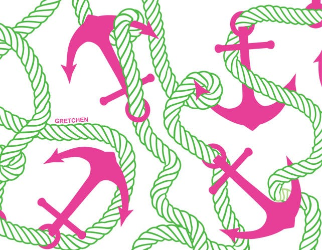 Anchors Away Lime/Pink