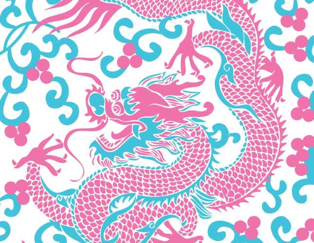 Dancing Dragons Turq/Pink