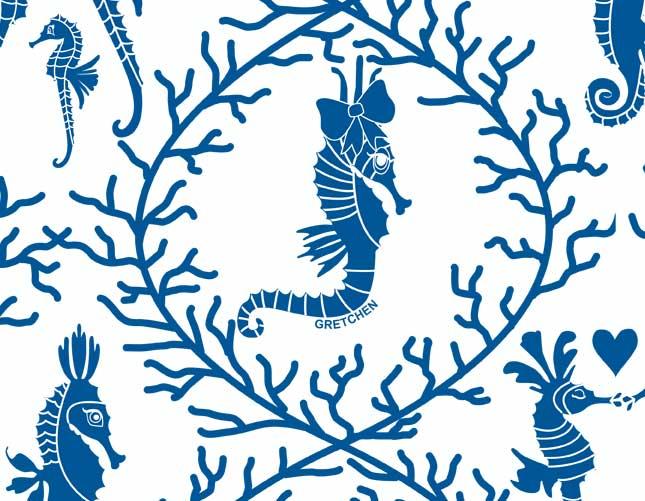 Seahorse Love Blue