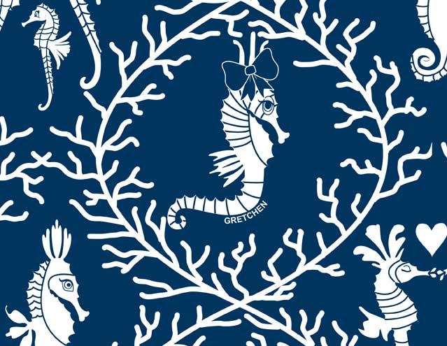 Seahorse Love Navy/White