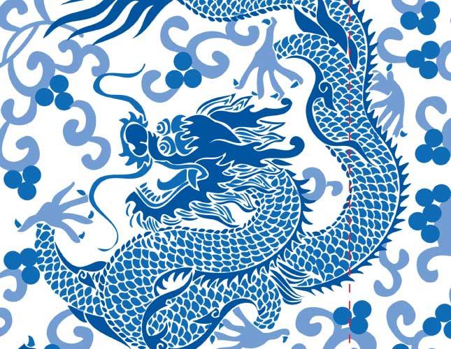 Dancing Dragons Blue