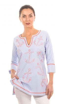 Mommy Cotton  Hand Embroidered Tunic - Anchor