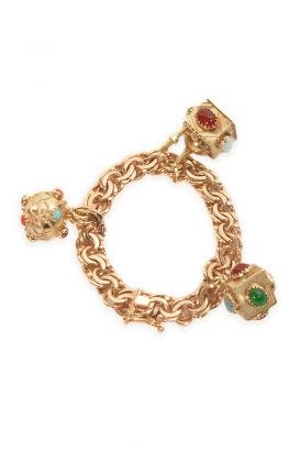 14K Yellow Gold 3 Charm Bracelet