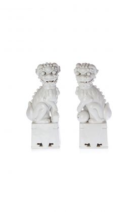 19th Century Blanc de Chine Porcelain Foo Dogs