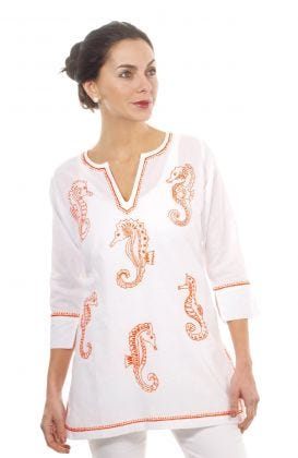"""Mommy & Me"" Mommy Cotton Hand Embroidered Tunic - Seahorse"