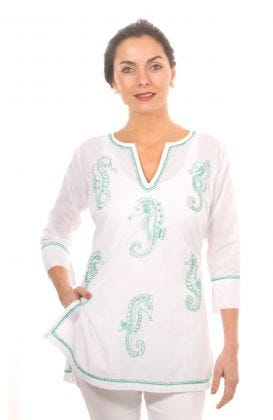 """""""Mommy & Me"""" Mommy Cotton Hand Embroidered Tunic - Seahorse"""