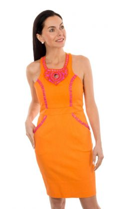 Hand Beaded Cotton Dress - Beaded Brash
