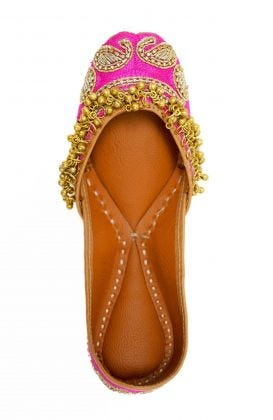 Hand Embroidered Jingle Jangle Jutti Flats
