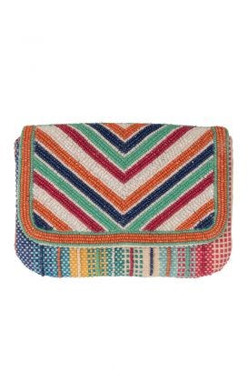 V For Victory Beaded Clutch