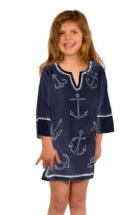 """""""Mommy & Me"""" Girls Cotton Tunic - Hand Embroidered Anchor"""