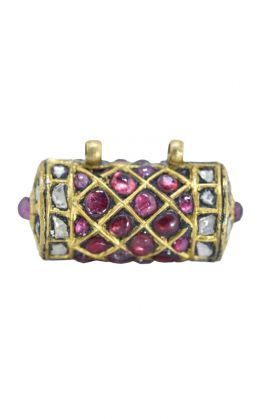 Antique 22K Gold, Ruby, Un- cut Diamond Taviz