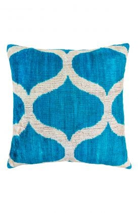 Hand Woven Velvet Silk Pillows - Arabesque Ikat