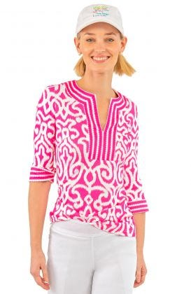 Jersey Split Neck Tunic - Arabesque