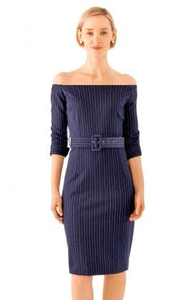 Bateau Neck Pinstripe Stretch Dress