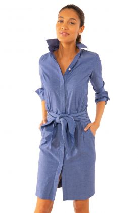 Breezy Blouson Dress - Chambray