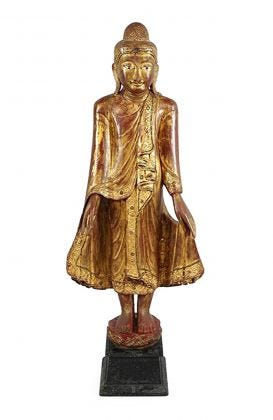 Carved Wood Buddha - 47""