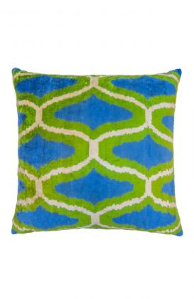 Hand Woven Velvet Silk Pillows - Chain Link Ikat