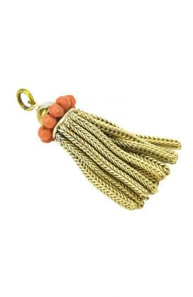 Antique 19th Century Coral Tassel Necklace Pendant