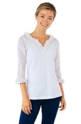 Eyelet Split Neck Top - Zelda