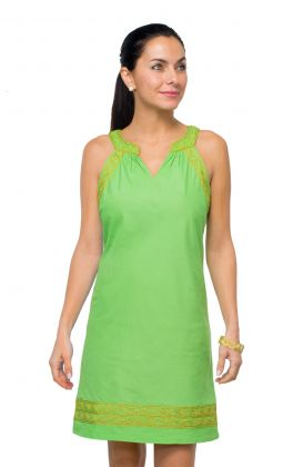 Cotton Metallic Embroidered Dress - The Easy