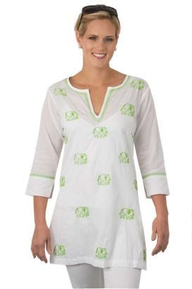 """""""Mommy & Me"""" Mommy Cotton Hand Embroidered Tunic - Elephant"""