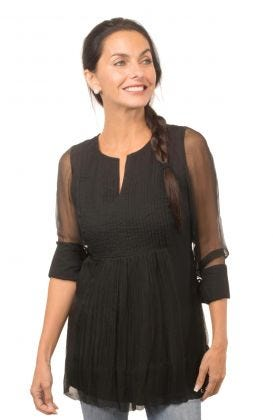 Cotton Pleated Tunic Top - Ethereal