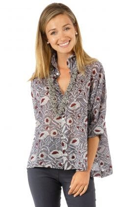 Comfy Cozy Hand Block Print Cotton Voile Blouse | Gretchen Scott