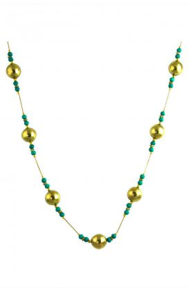 """The Turquoise and Gold Round"" Long Beaded Necklace"