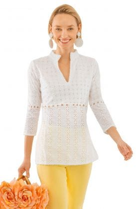 Cotton Eyelet Tunic- Mixed Media Tunic