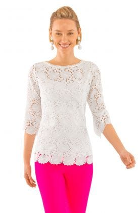 Daisy Embroidered Eyelet Top
