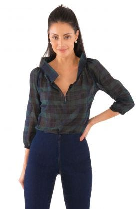Plaid Peasant Blouse