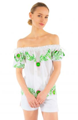 Cotton Hand Embroidered Top - Garden