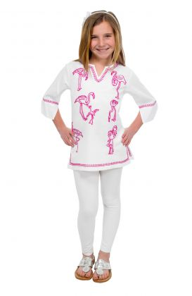 """Mommy & Me"" Girls Cotton Hand Embroidered Tunic - Flamingo"