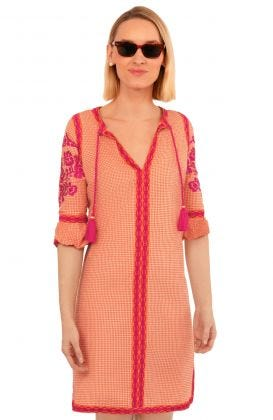 Glorious Gingham Cotton Embroidered Dress