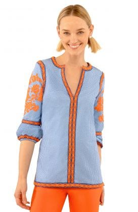 Glorious Gingham Cotton Embroidered Top