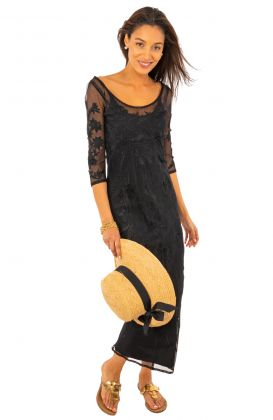 Mesh Embroidered Dress with Slip - Ikebana