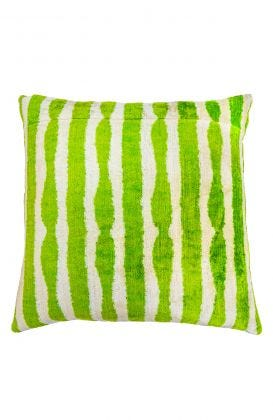 Hand Woven Velvet Silk Pillows - Green Stripe Ikat