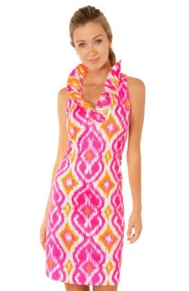 Jersey Ruffneck Sleeveless Dress - Kitt Ikat