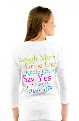 """Laugh More"" 3/4 Sleeve Cotton Tee"