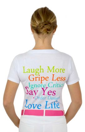 """Laugh More"" Short Sleeve Cotton Tee"