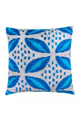 Hand Woven Velvet Silk Pillows - Leaf Me Alone Ikat