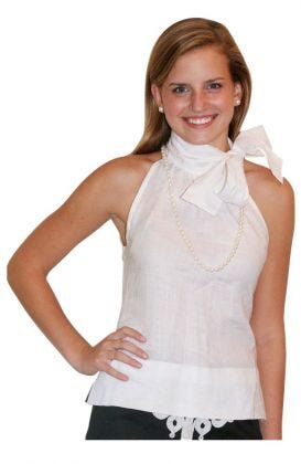 Linen Neck Bow Blouse