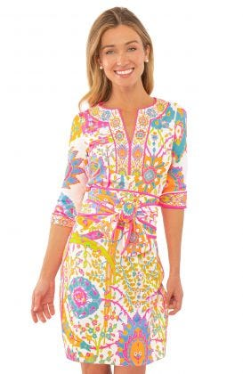 Jersey Split Neck Dress-Magic Carpet