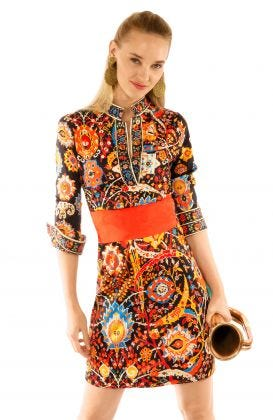 Jersey Mandarin Dress - Magic Carpet