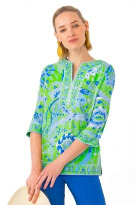Cotton Split Neck Tunic - Magic Carpet