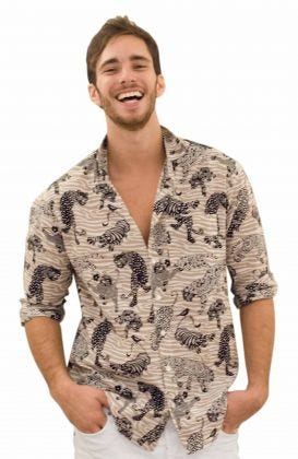 """""""Daddy & Me"""" Mens Cotton Long Sleeve Shirt - Tiger Tails"""
