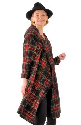 Plaid Wrap Coat with Shawl Collar - Duke of York