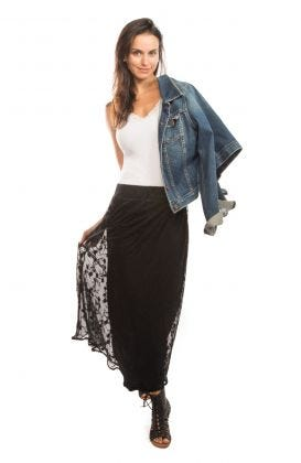 Mesh Embroidered Long Skirt - Net Game