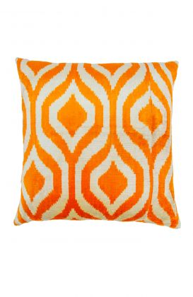 Hand Woven Velvet Silk Pillows - Orange Dew Drop Ikat