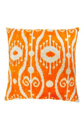 Hand Woven Velvet Silk Pillows - Orange Sci Fi Ikat